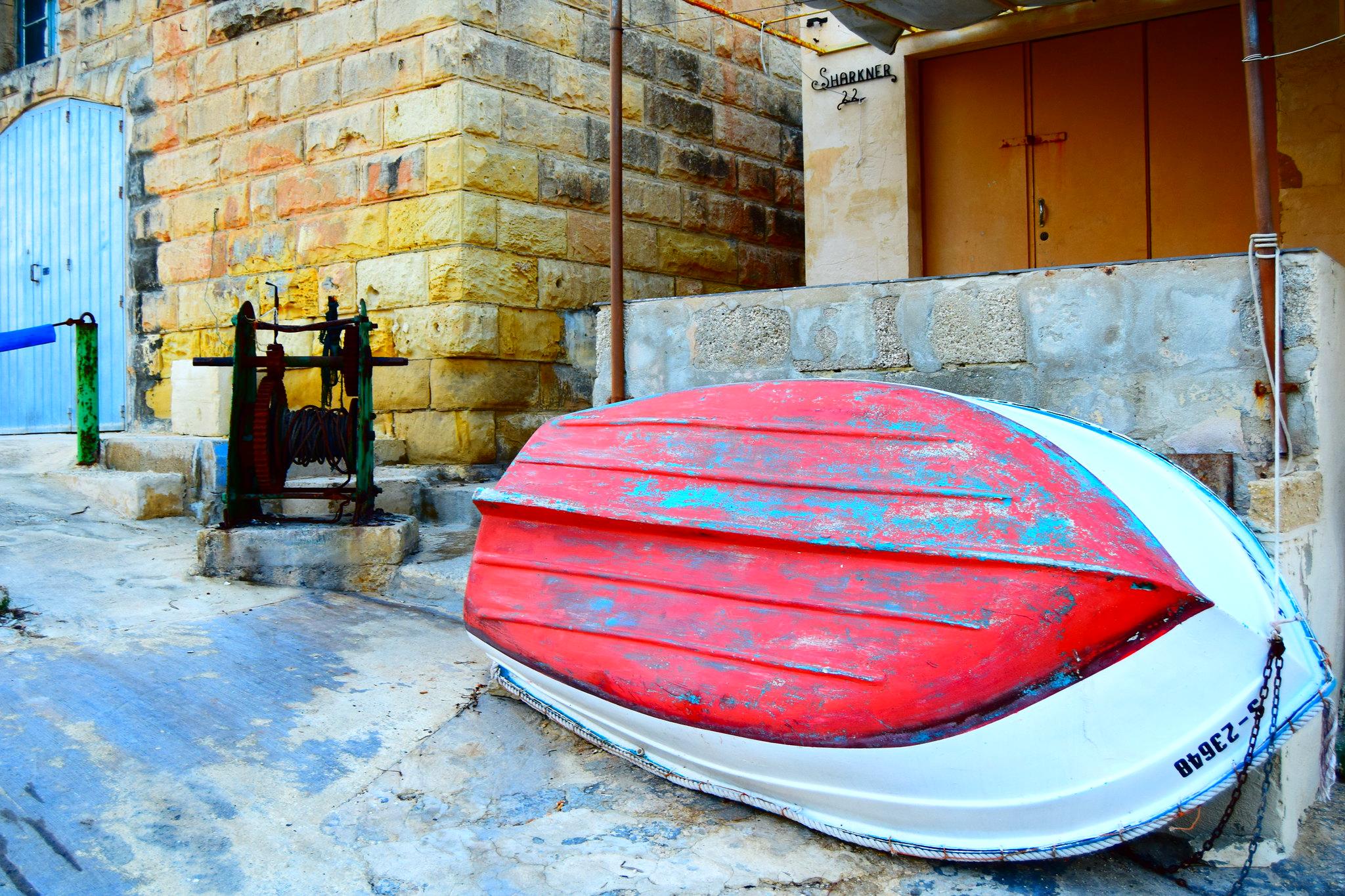 Underside of boat showing antifouling paint coat
