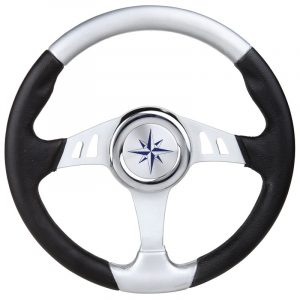 Black and White Boat Steering Wheel on a white background
